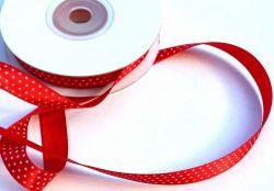 Dekorační stužka červená s puntíky 1,2 cm