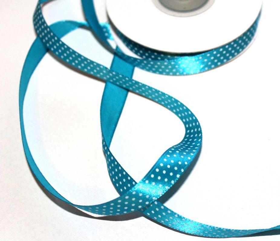 Dekorační stužka tyrkysová s puntíky 1,2 cm vyrobeno v EU
