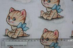 Bílá bavlna s kočičkami -dětská látka, dětská metráž vyrobeno v EU- atest pro děti bavlna