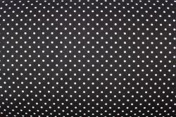 Černá bavlna s malými bílými puntíky
