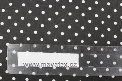 Černá bavlna s malými bílými puntíky vyrobeno v EU- atest pro děti bavlna