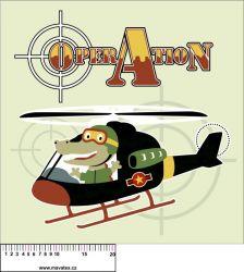 Panel na polštář - krokodýl ve vrtulníku