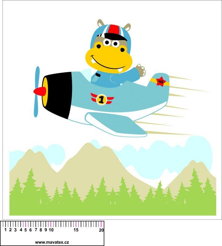 Panel na polštář - hroch v letadle - obrázky na látce, designový tisk vyrobeno v EU- atest pro děti bavlna