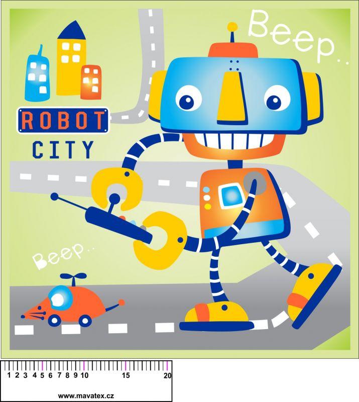 Panel na polštář - robot - obrázky na látce, designový tisk vyrobeno v EU- atest pro děti bavlna