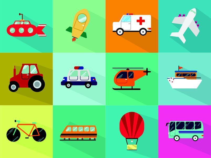 Panel pexeso- dopravní prostředky - obrázky na látce, designový tisk vyrobeno v EU- atest pro děti bavlna