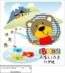 Panel na polštář - medvídek rybář