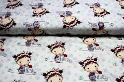 Bílá bavlna s holčičkami a čtyřlístky - dětská metráž vyrobeno v EU- atest pro děti bavlna