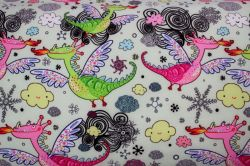 Softshell světlá mentolka pohádkový draci - zimní