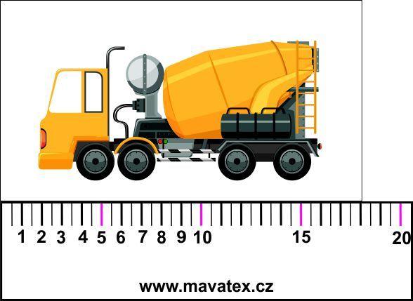 Žluté auto s mýchačkou- aplikace k našití Mavatex