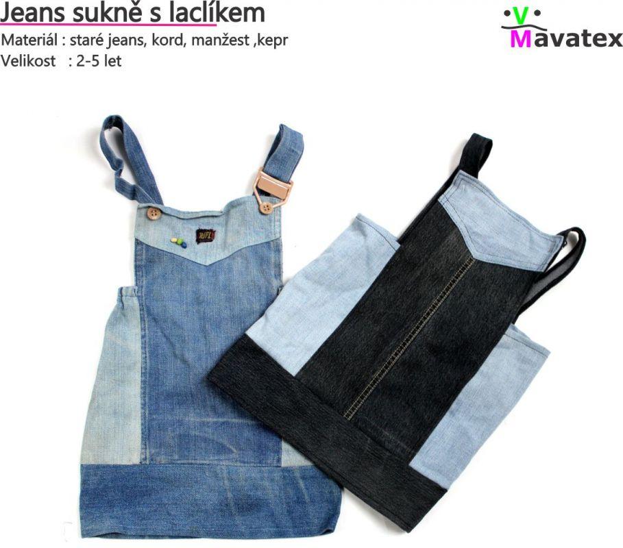 papírový střih -Šaty dětské jeans - nebo-li , jak zužitkovat staré jeans mavatex
