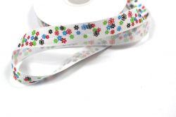 Bílá ripsová stužka s kytičkami  1,5 cm