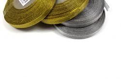Dekorační stužka stříbrná - 1cm vyrobeno v EU