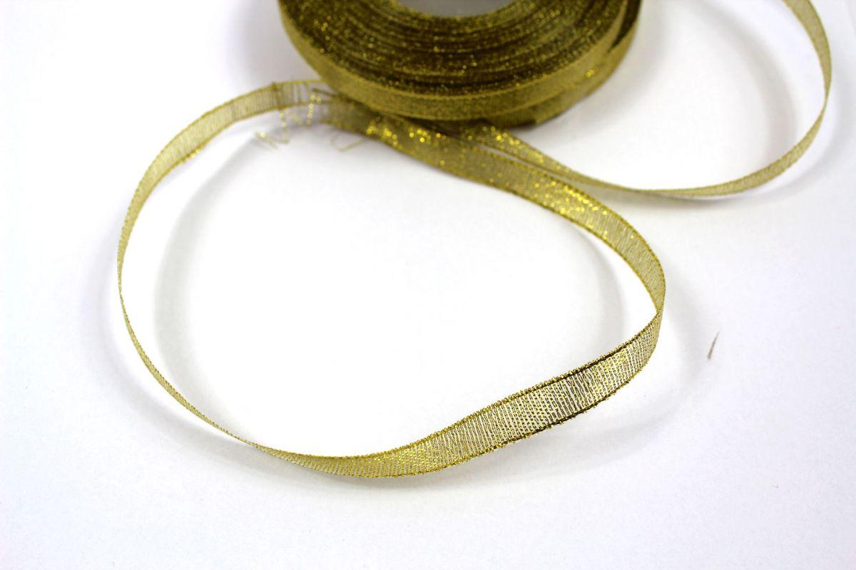 Dekorační stužka zlatá - 1cm vyrobeno v EU
