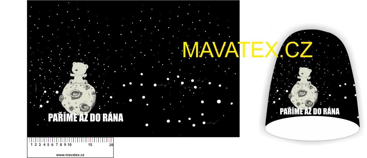 Panel na čepice SKEJŤAČKA - medvídek na měsíci Mavatex