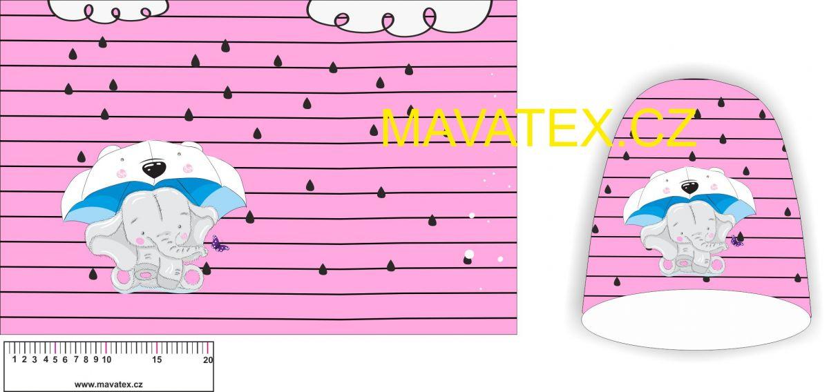 Panel na čepice SKEJŤAČKA - sloník na růžové Mavatex