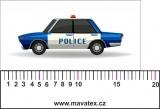 auto policie modré  - aplikace k našití- satén