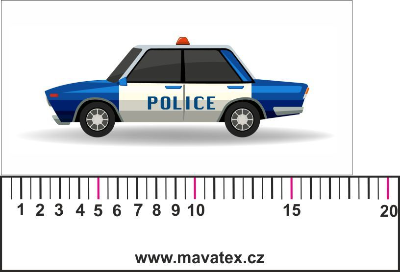 auto policie modré - aplikace k našití Mavatex