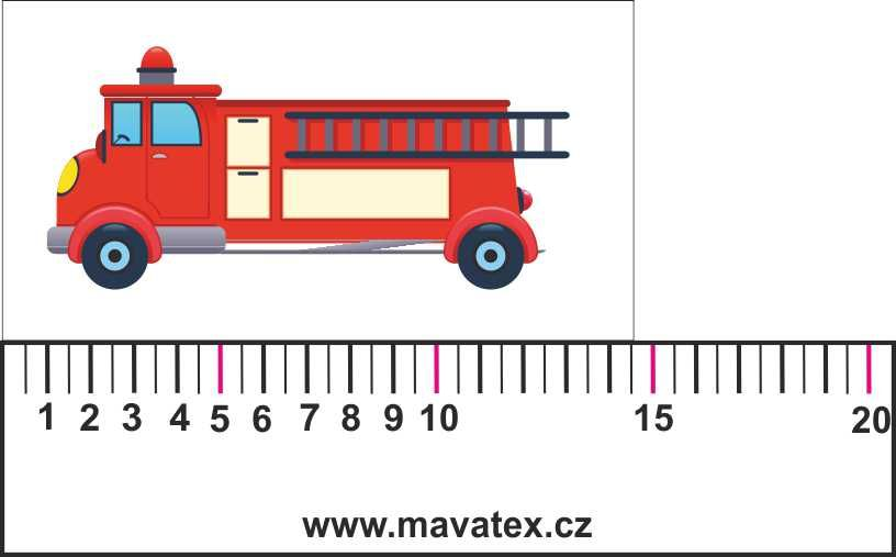 autíčko hasiči- aplikace k našití vyrobeno v EU- atest pro děti bavlna