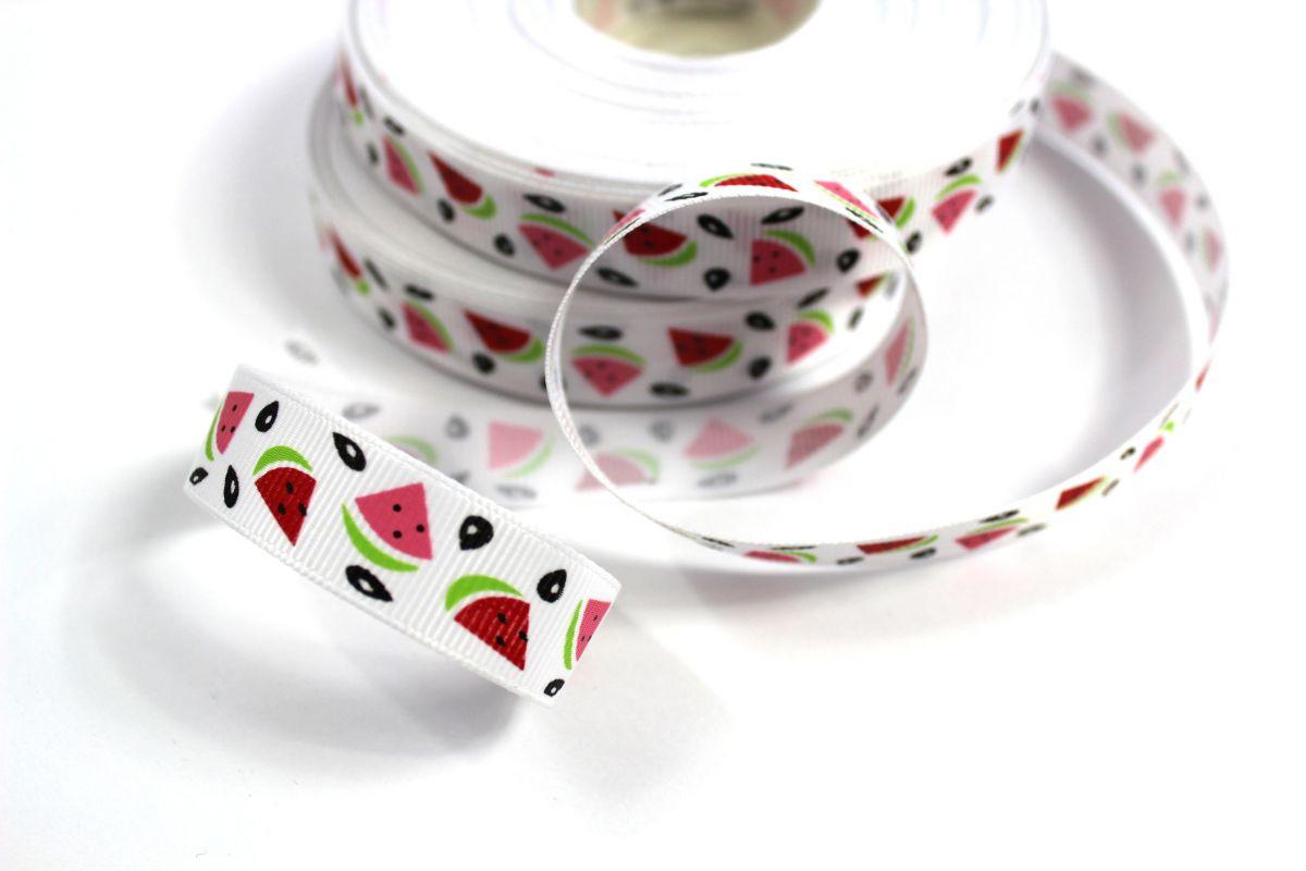 Bílá ripsová stužka s melouny 1,5 cm vyrobeno v EU