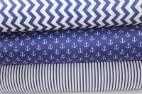 Modro-bílý námořnický cik cak vyrobeno v EU- atest pro děti bavlna