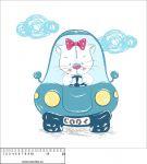 Panel na polštář - kočka v autě