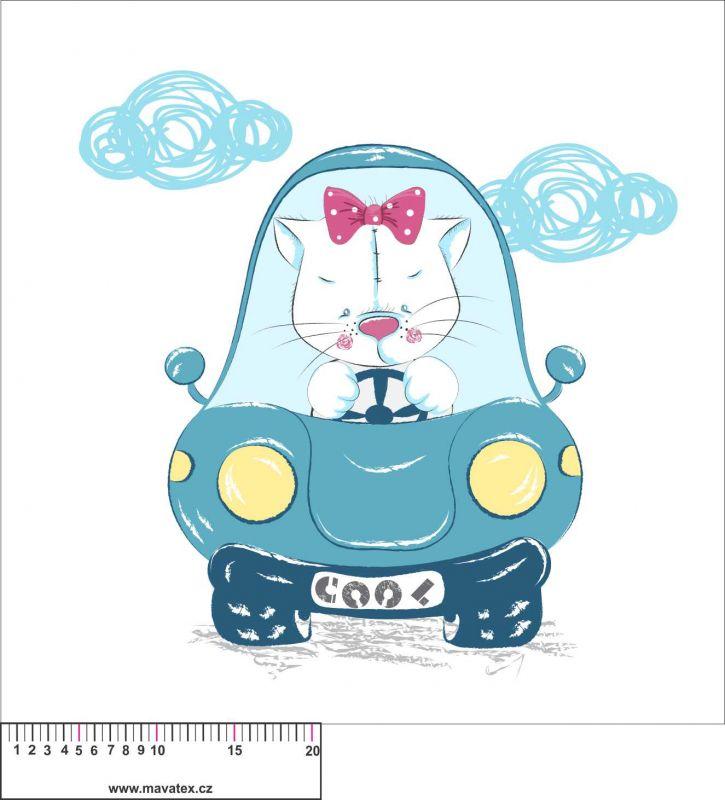 Panel na polštář - kočka v autě - obrázky na látce, designový tisk vyrobeno v EU- atest pro děti bavlna