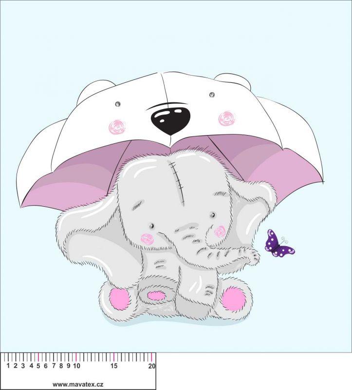 Panel na polštář - sloník s deštníkem - obrázky na látce, designový tisk vyrobeno v EU- atest pro děti bavlna
