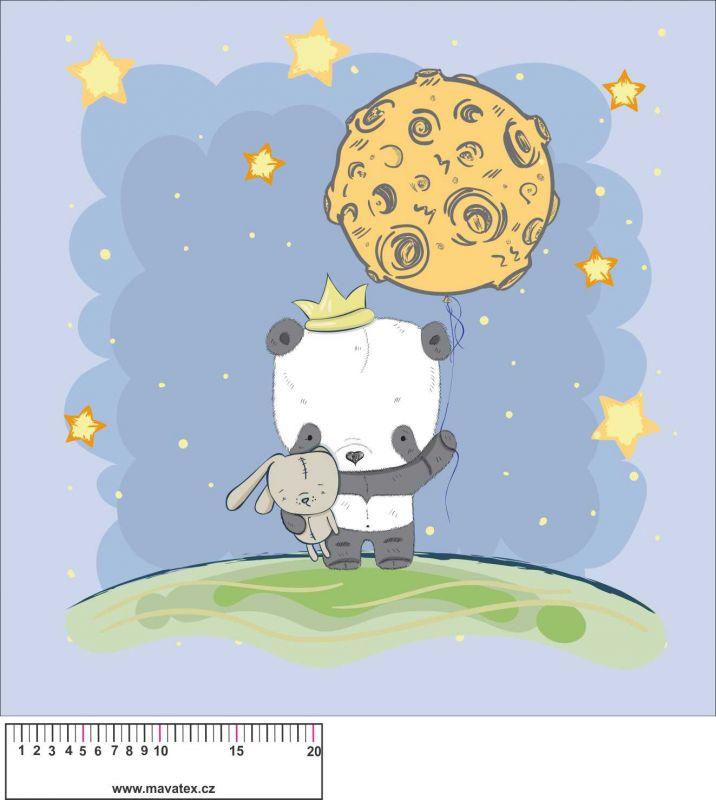 Panel na polštář -panda se zajíčkem - obrázky na látce, designový tisk vyrobeno v EU- atest pro děti bavlna