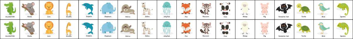 Panel pexeso- angličtina- zvířátka +text karty - obrázky na látce, designový tisk vyrobeno v EU- atest pro děti bavlna