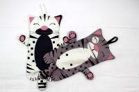 Pyžamožrout - kočička šedivá- VELKÁ vyrobeno v EU- atest pro děti bavlna