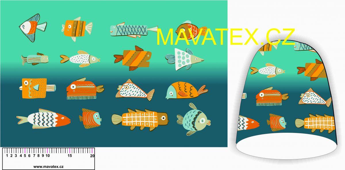 Panel na čepice SKEJŤAČKA - ryby ve vodě Mavatex