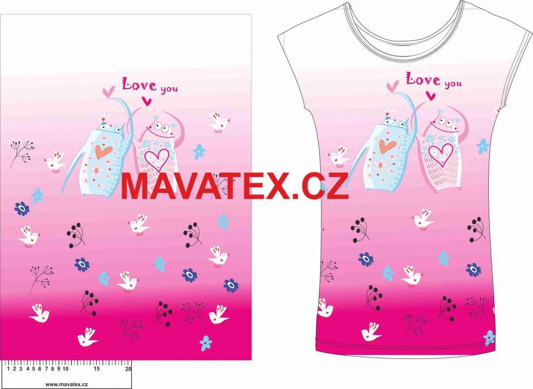 Panel na triko - zamilovaní bubáci vyrobeno v EU