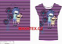 Panel na triko - holčička se zajíčkem na proužku