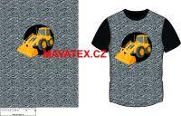 Panel na triko - žlutý nakladač s hřebíky