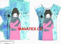 Panel na triko - dívka s šálou a pampliškami - VELKÝ