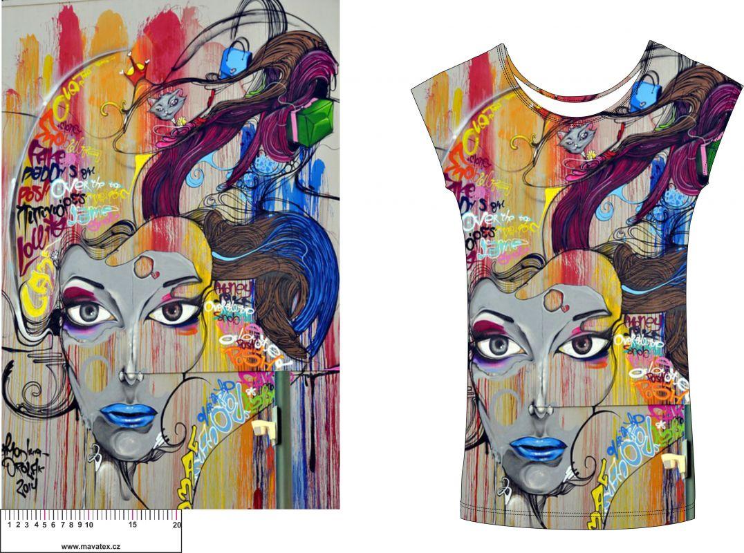 Panel na mikinu nebo triko-barevná tvář- soft finnish panel k šití vyrobeno v EU