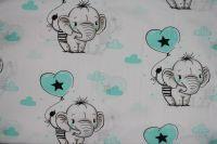 Bílá bavlna se slony- modrá