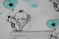 Bílá bavlna se slony- modrá vyrobeno v EU- atest pro děti bavlna