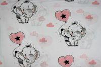 Bílá bavlna se slony- růžová