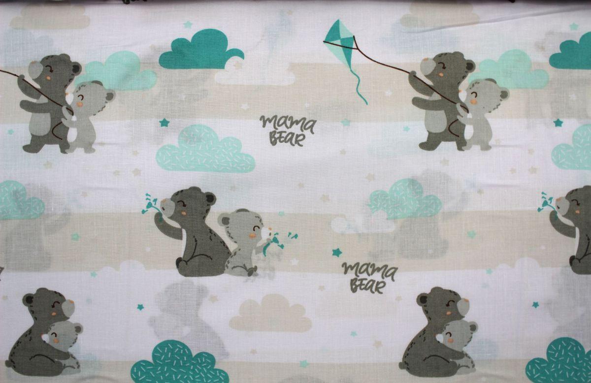 Bílá bavlna s šedýmí medvídky vyrobeno v EU- atest pro děti bavlna