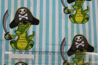 Bavlna s krokodýly v klobouku vyrobeno v EU- atest pro děti bavlna