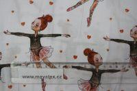 Bílá bavlna s jemnými baletkami vyrobeno v EU- atest pro děti bavlna