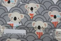 Šedá bavlna s koala medvídky vyrobeno v EU- atest pro děti bavlna
