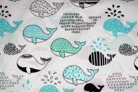 Bílá bavlna s velrybkami- modrá vyrobeno v EU- atest pro děti bavlna