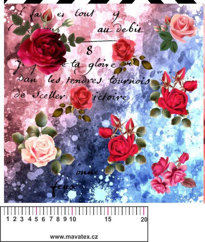 Růže modrý mix - aplikace k našití - kepr vyrobeno v EU- atest pro děti bavlna
