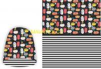 Panel na oboustrannou čepici - kočky na černé