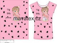 Panel na triko - holčička růžová s jednorožcem