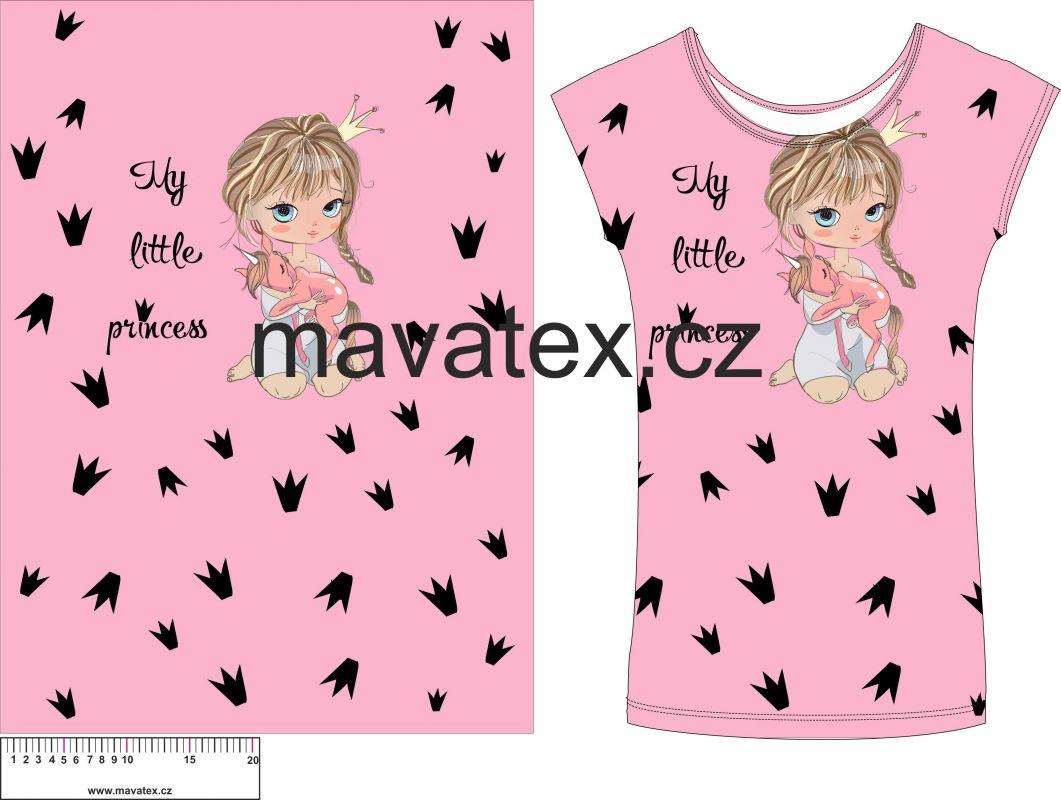 Panel na triko - holčička růžová s jednorožcem vyrobeno v EU