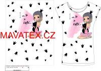 Panel na triko - holčička s kočičkou