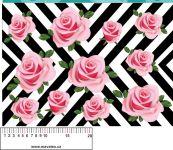 Chevron s růžemi - aplikace k našití - kepr